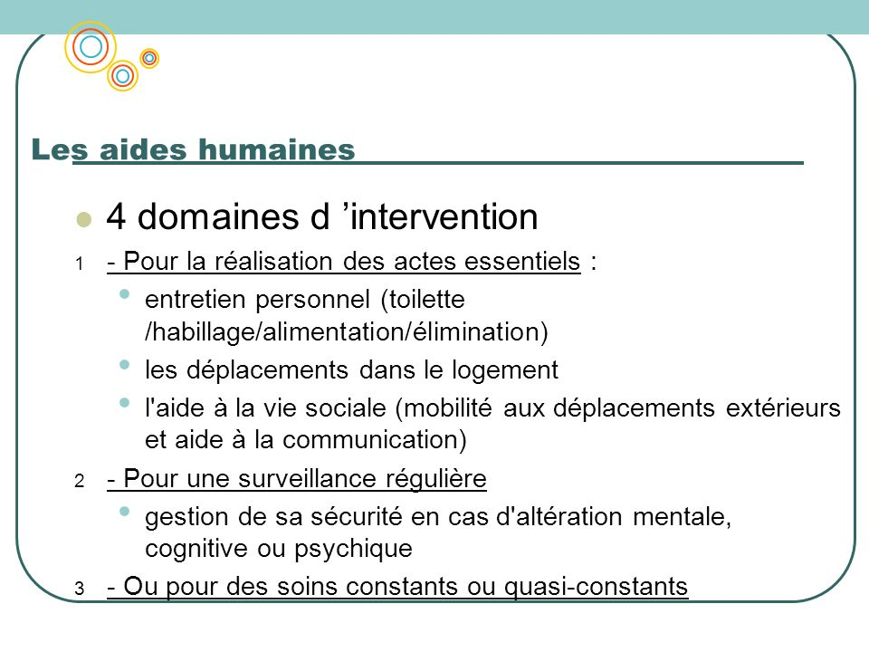 4 domaines d 'intervention