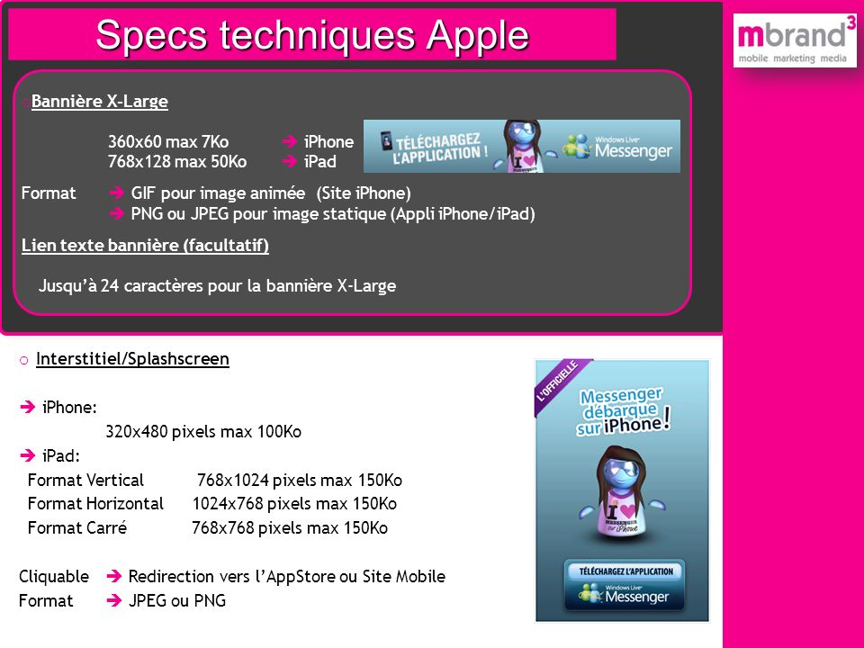 Specs techniques iPhone Specs techniques Apple