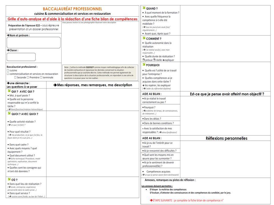 Comment r aliser son dossier professionnel ppt video - Fiche bilan de competences bac pro cuisine ...