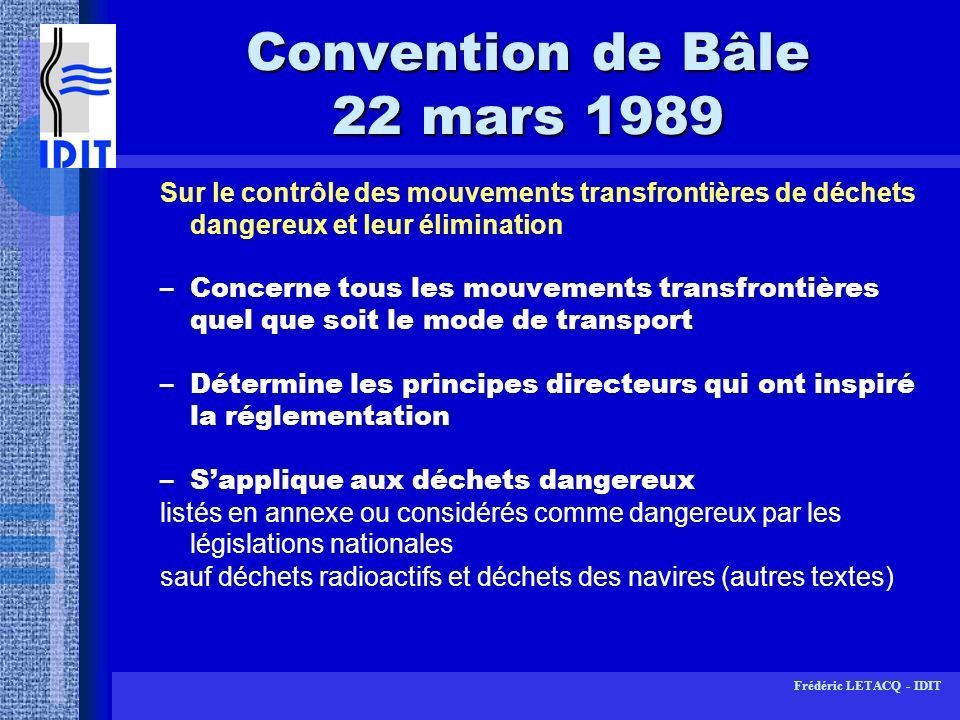 Convention de Bâle 22 mars 1989