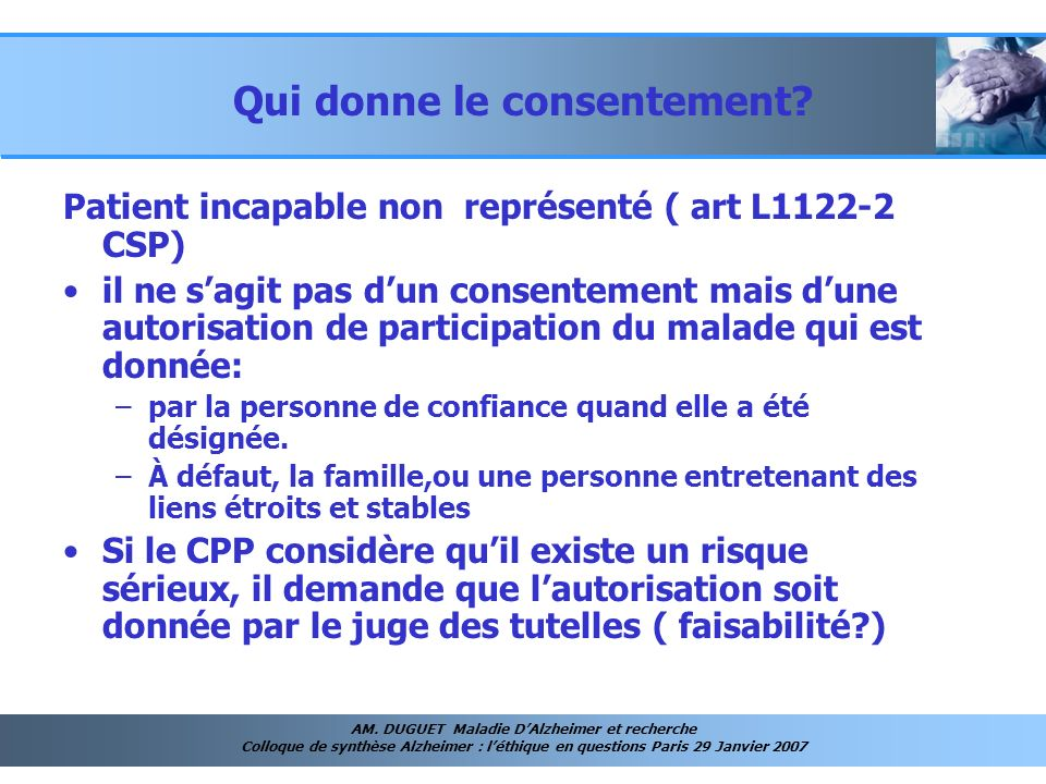 Qui donne le consentement