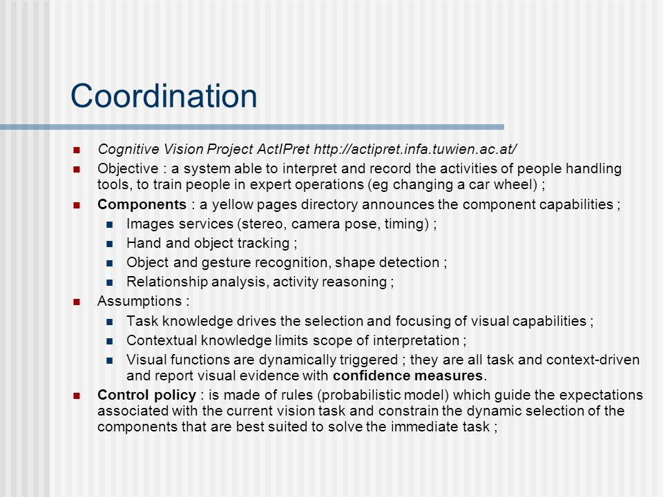 Coordination Cognitive Vision Project ActIPret
