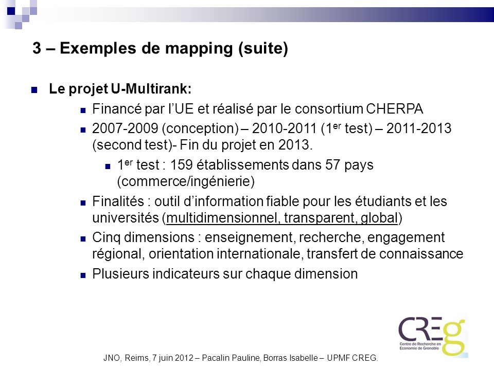 3 – Exemples de mapping (suite)