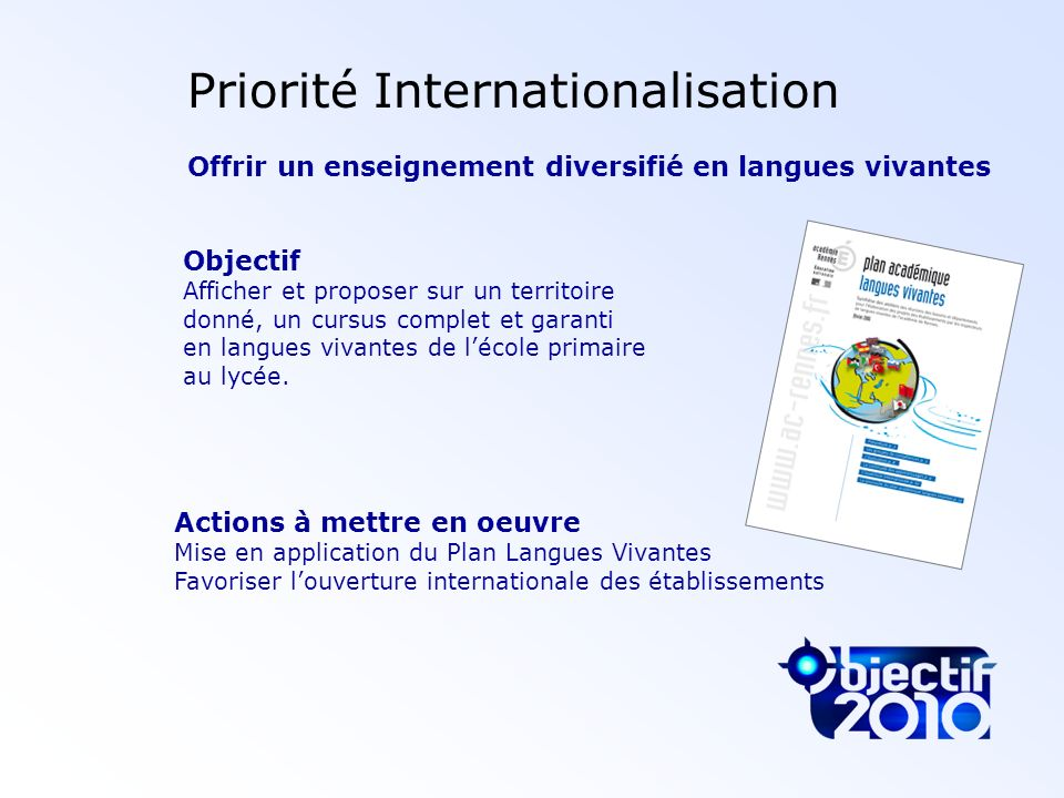 Priorité Internationalisation
