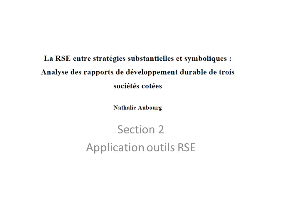 Section 2 Application outils RSE