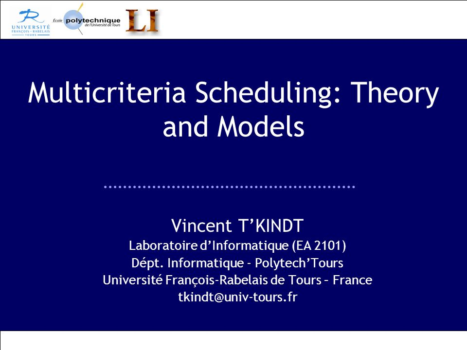 Multicriteria Scheduling: Theory and Models