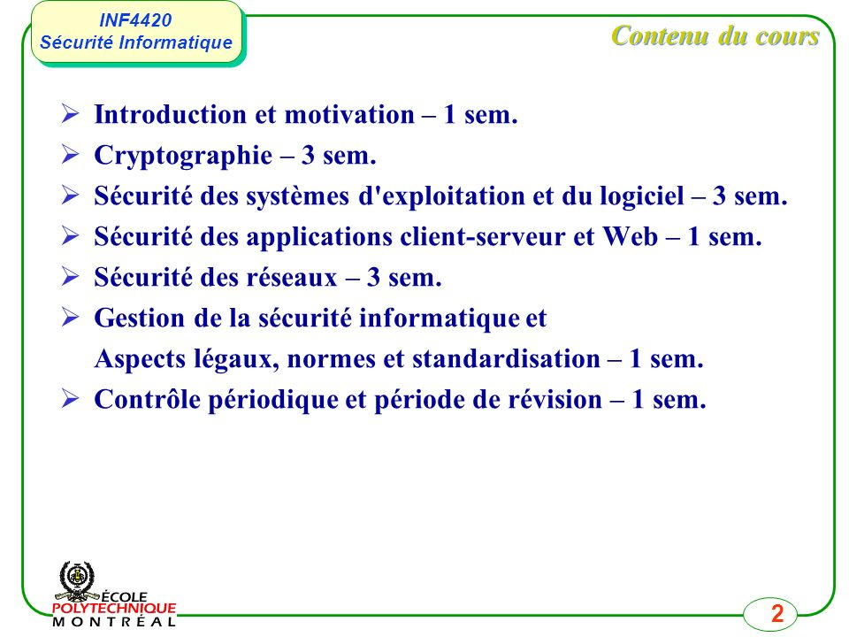 Introduction et motivation – 1 sem. Cryptographie – 3 sem.