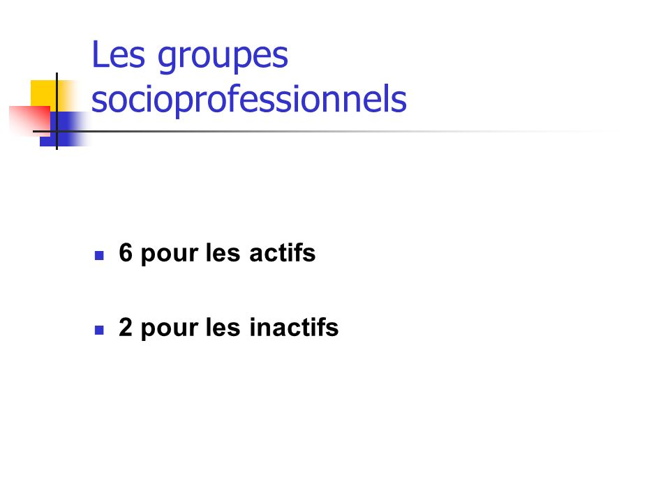 Les groupes socioprofessionnels