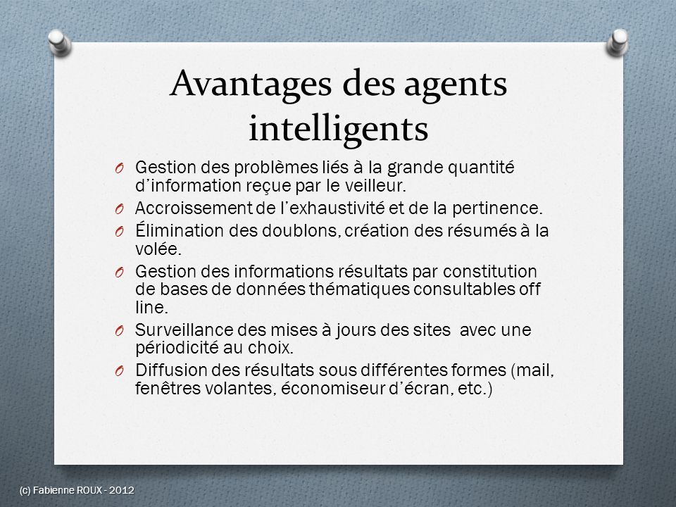 Avantages des agents intelligents