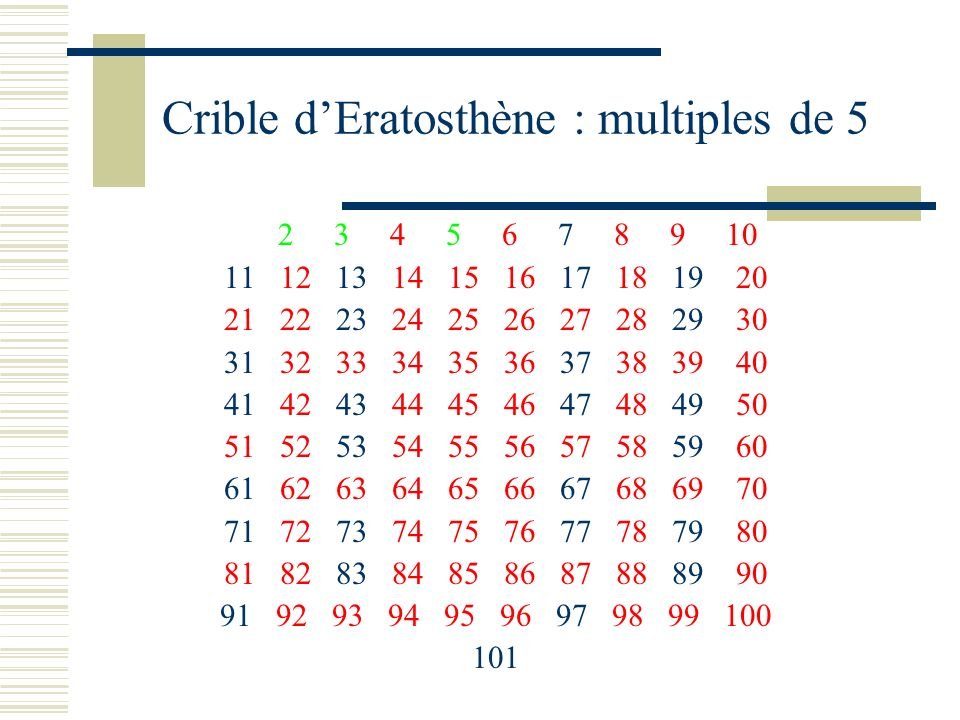 Crible d'Eratosthène : multiples de 5