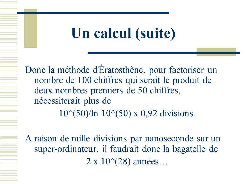 Un calcul (suite)