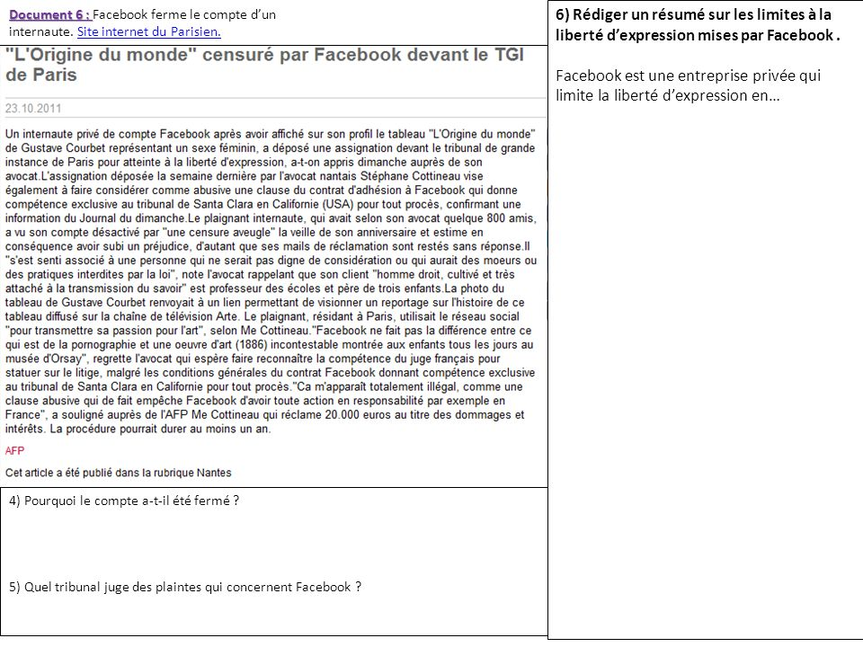 Document 6 : Facebook ferme le compte d'un internaute
