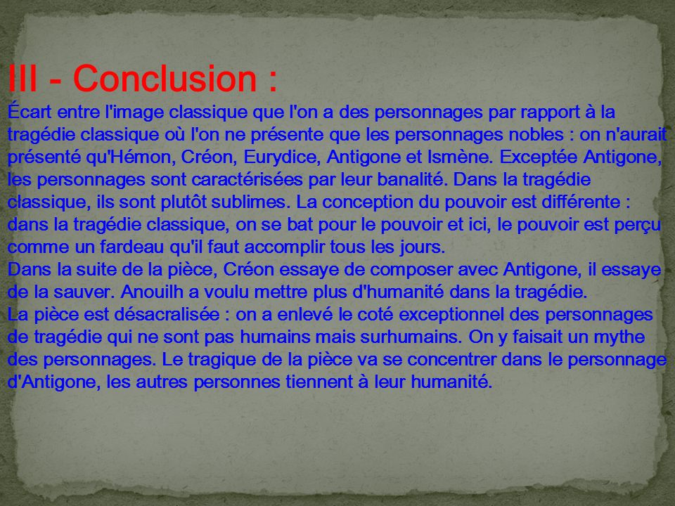 III - Conclusion :