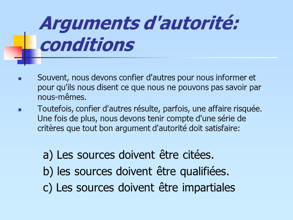 Arguments d autorité: conditions