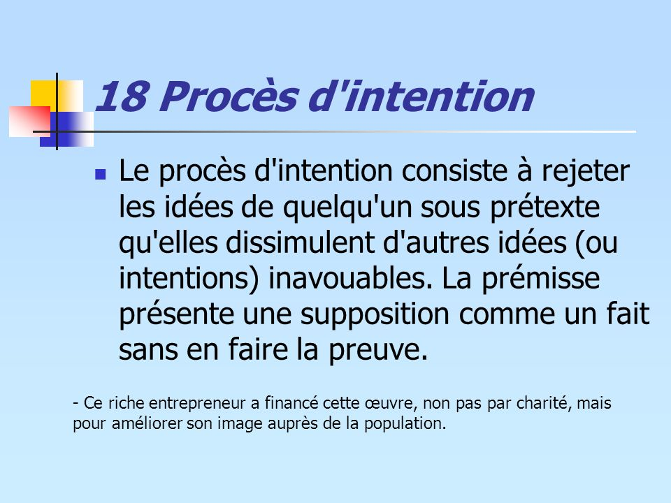 18 Procès d intention