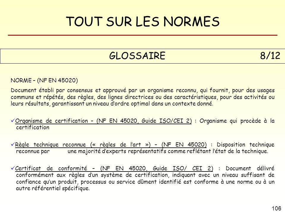 GLOSSAIRE 8/12 NORME – (NF EN 45020)