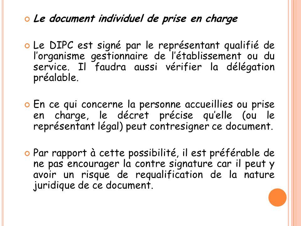 Le document individuel de prise en charge