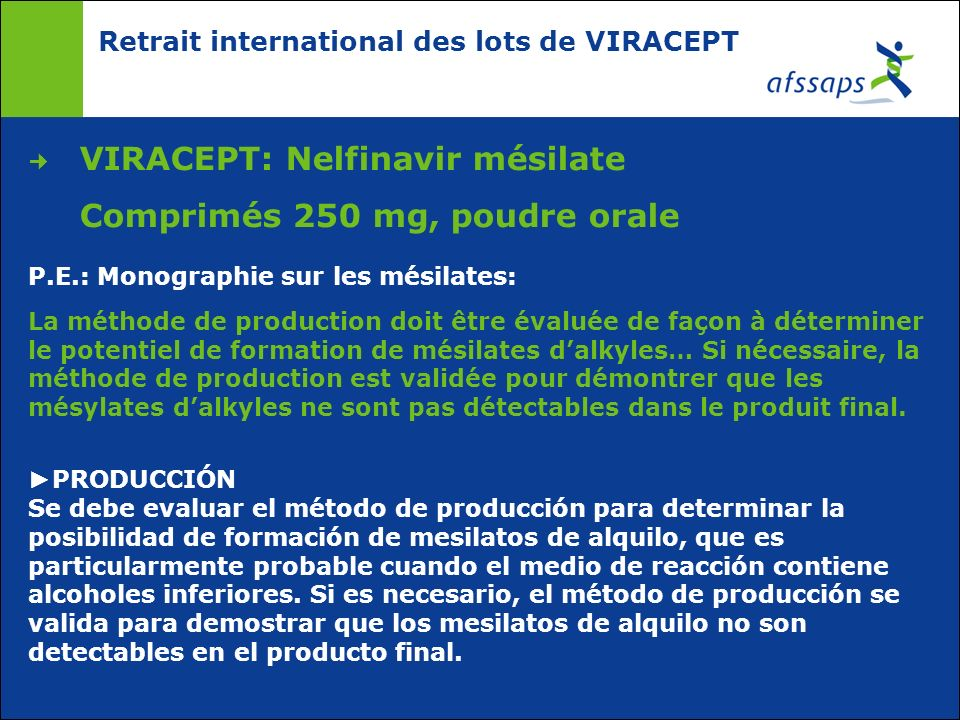 Retrait international des lots de VIRACEPT