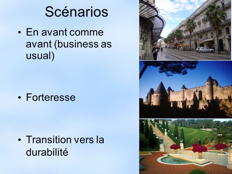 Scénarios En avant comme avant (business as usual) Forteresse