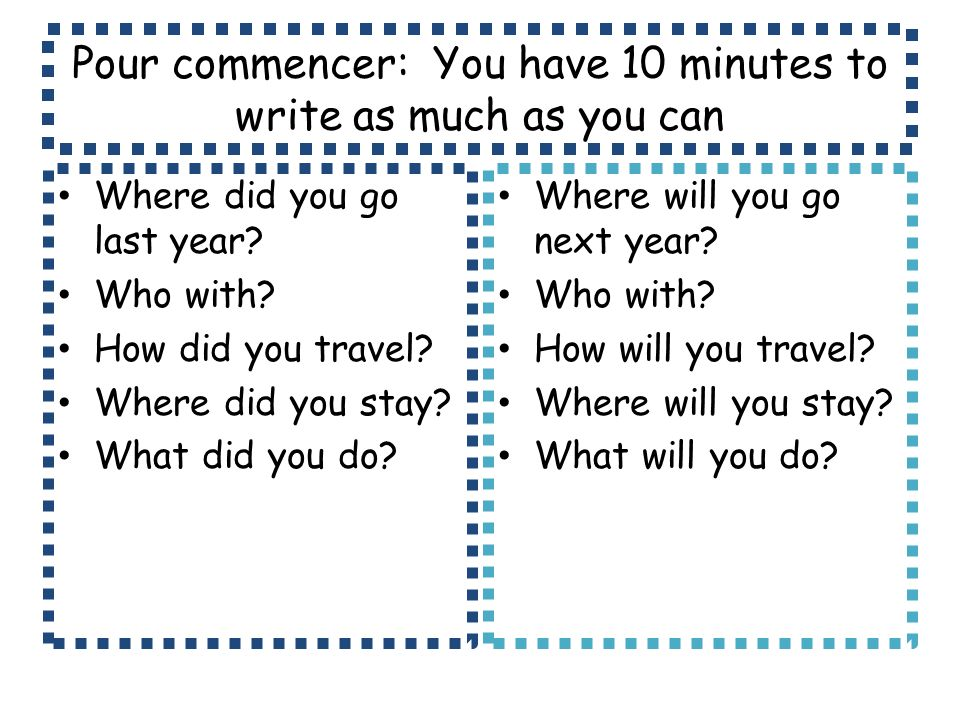 Pour commencer: You have 10 minutes to write as much as you can
