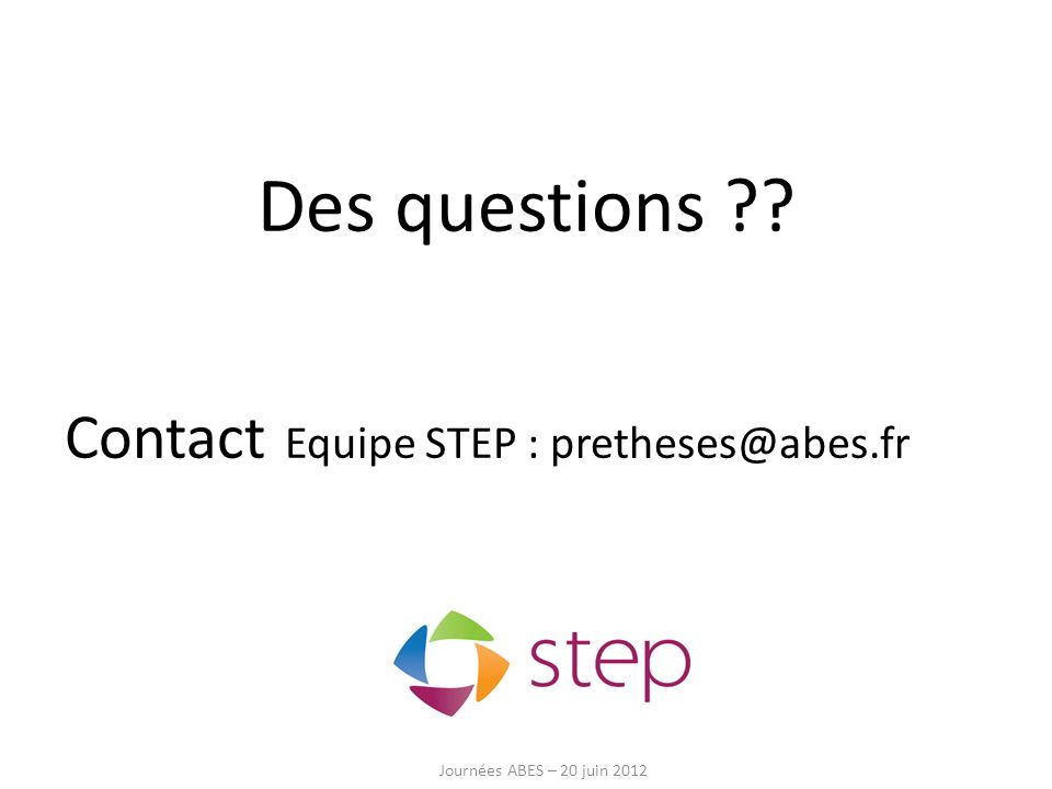 Des questions Contact Equipe STEP :