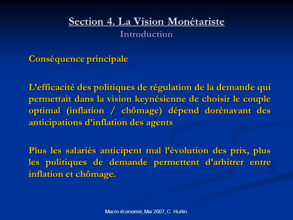 Section 4. La Vision Monétariste Introduction