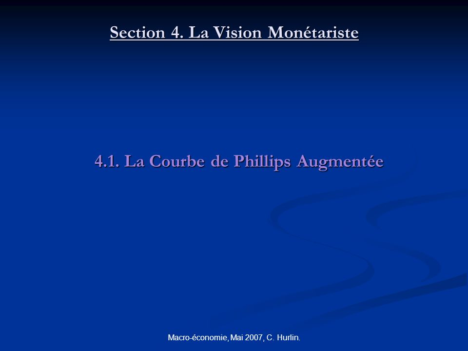 Section 4. La Vision Monétariste