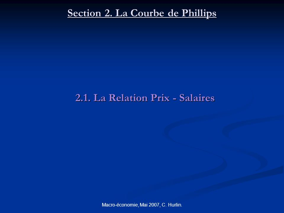 Section 2. La Courbe de Phillips