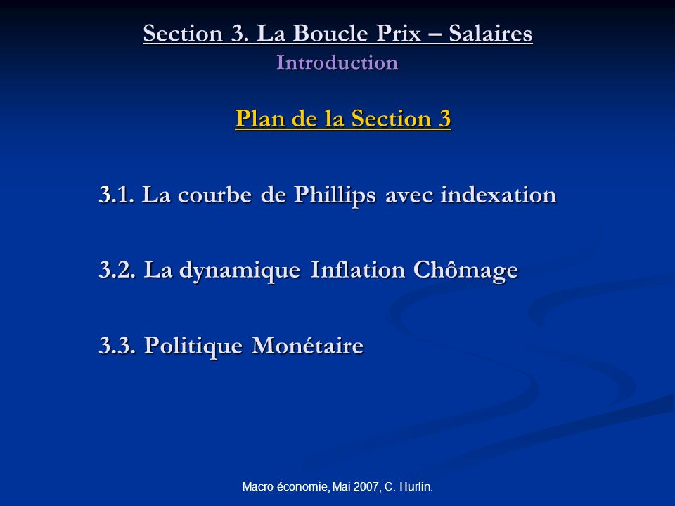 Section 3. La Boucle Prix – Salaires Introduction