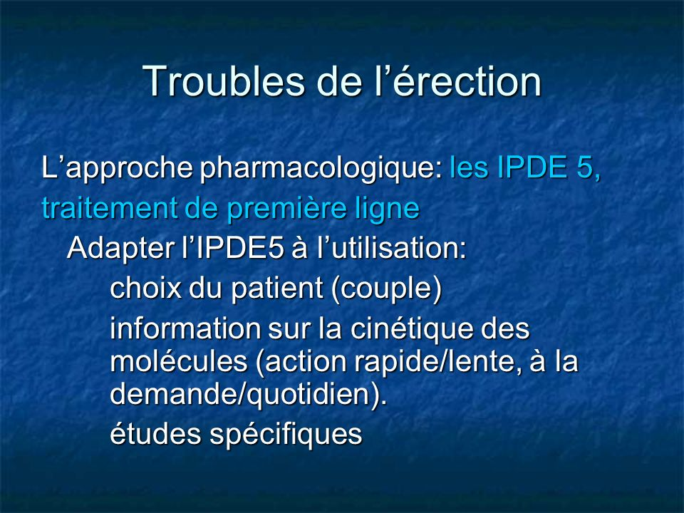 Troubles de l'érection