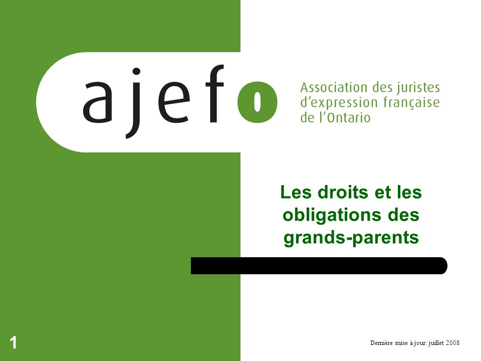 Les droits et les obligations des grands-parents