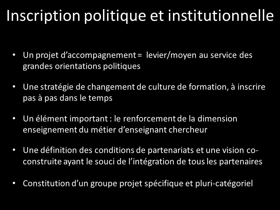 Inscription politique et institutionnelle