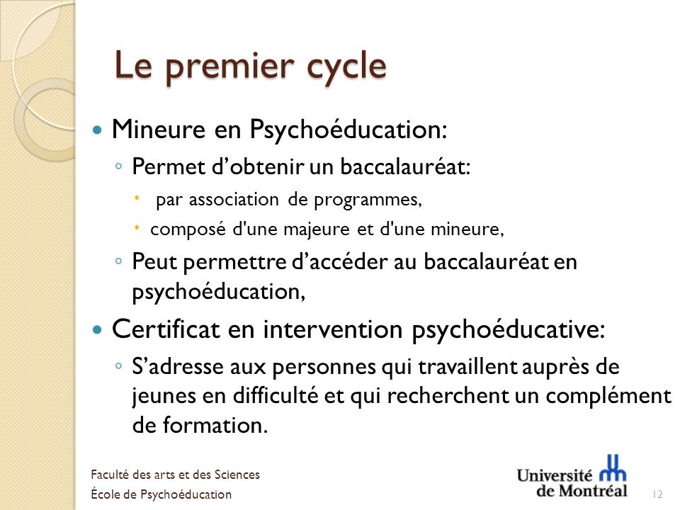 Le premier cycle Mineure en Psychoéducation: