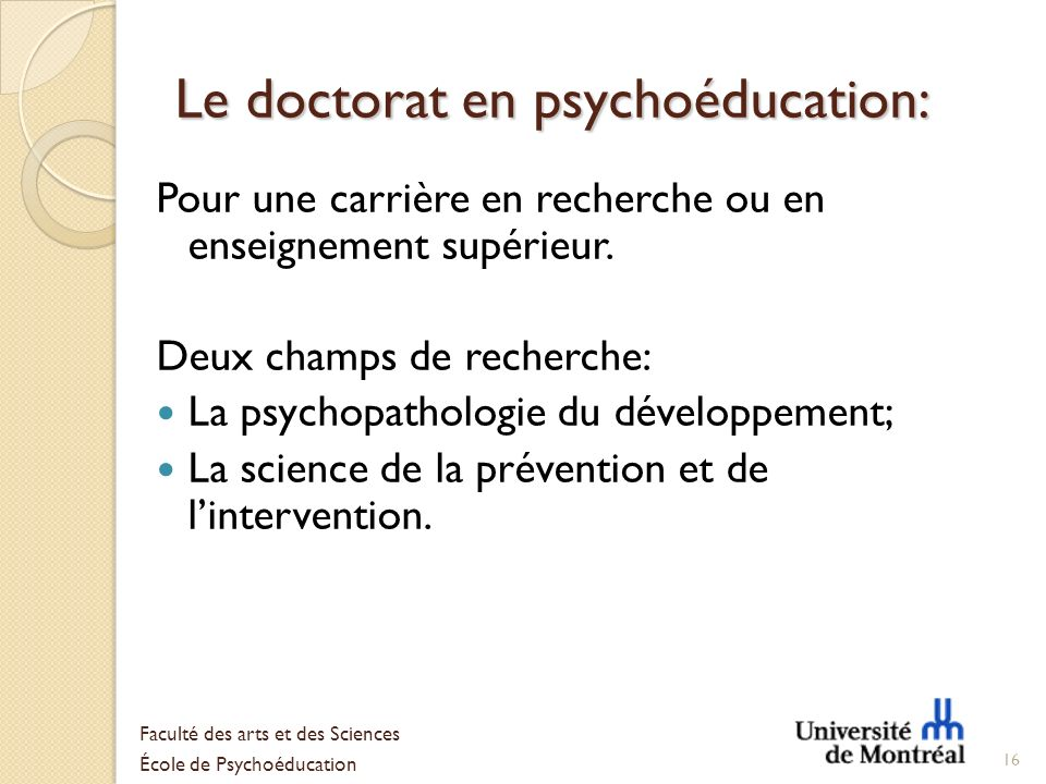 Le doctorat en psychoéducation: