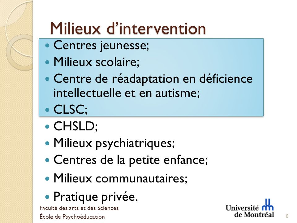 Milieux d'intervention