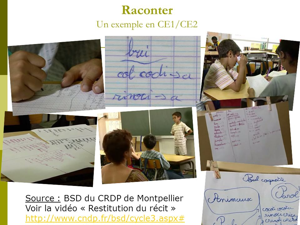 Raconter Un exemple en CE1/CE2 Source : BSD du CRDP de Montpellier