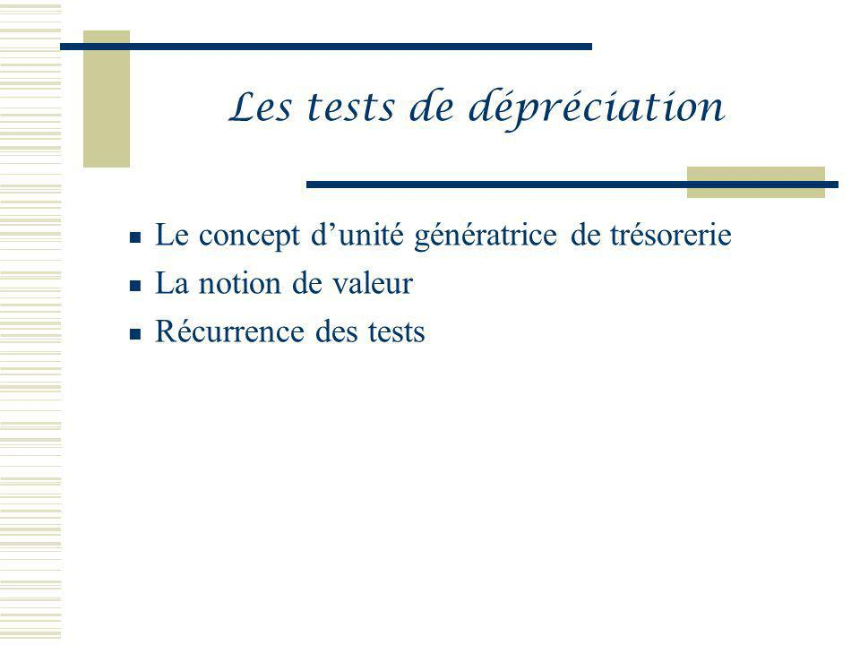 Les tests de dépréciation