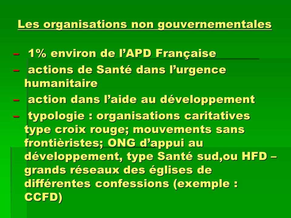 Les organisations non gouvernementales