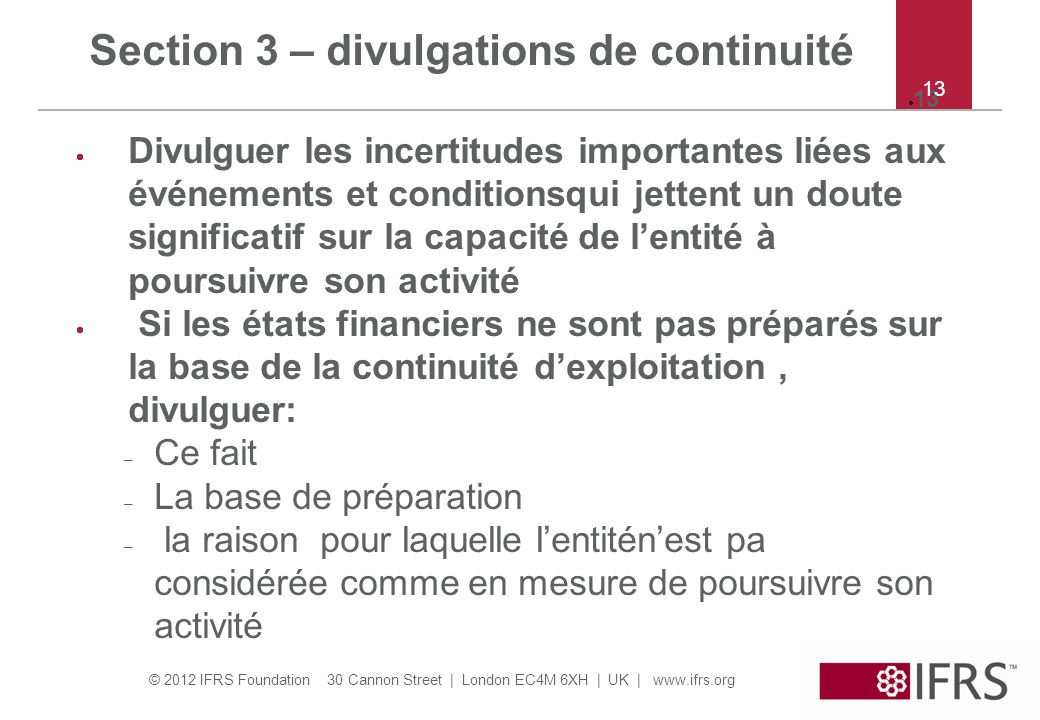 Section 3 – divulgations de continuité