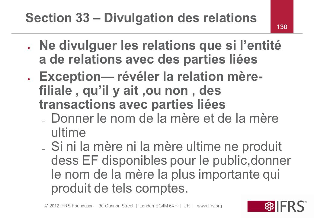 Section 33 – Divulgation des relations