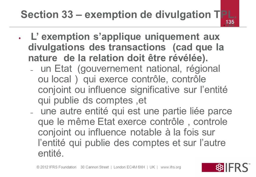 Section 33 – exemption de divulgation TPL.