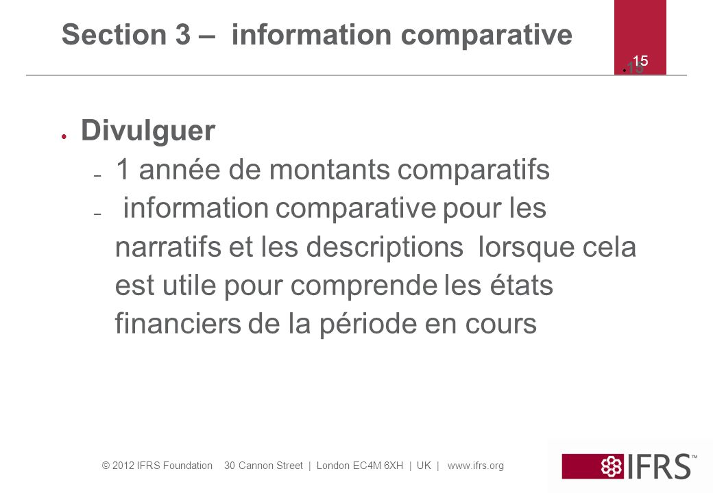 Section 3 – information comparative