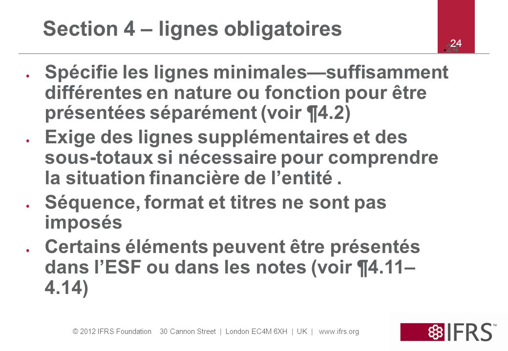 Section 4 – lignes obligatoires