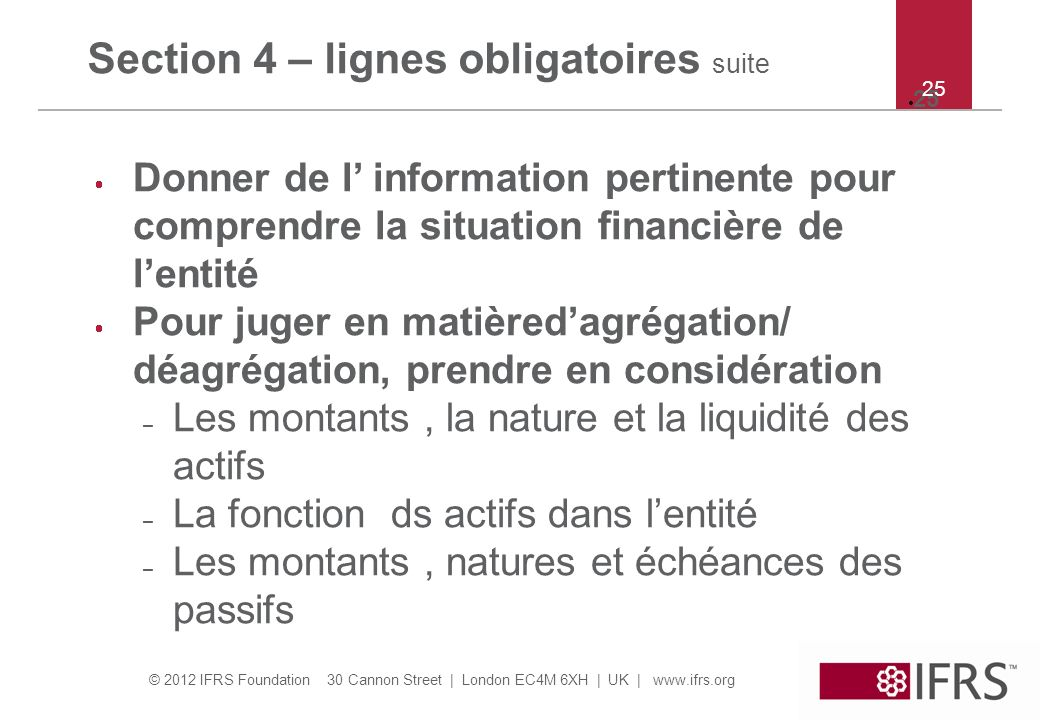 Section 4 – lignes obligatoires suite