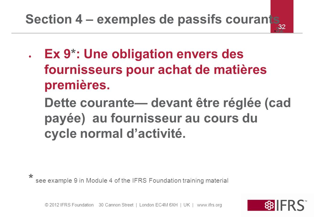Section 4 – exemples de passifs courants