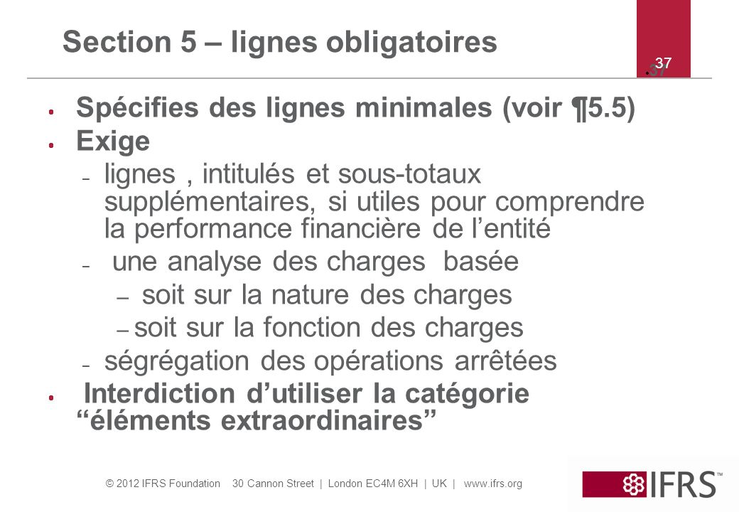 Section 5 – lignes obligatoires