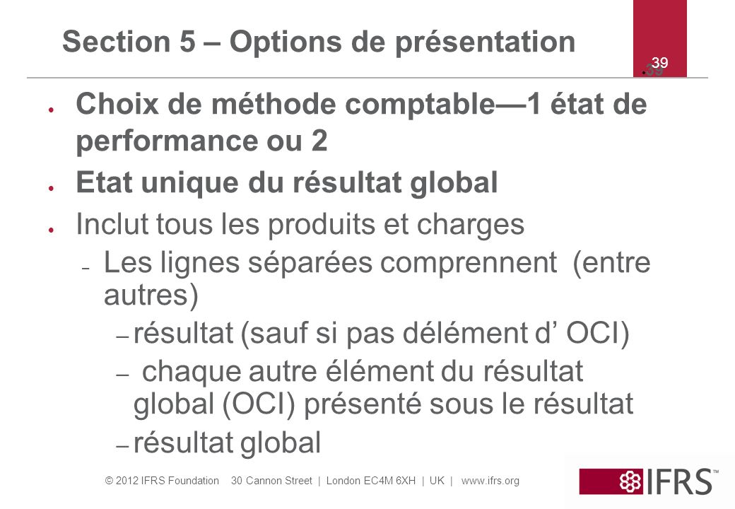 Section 5 – Options de présentation