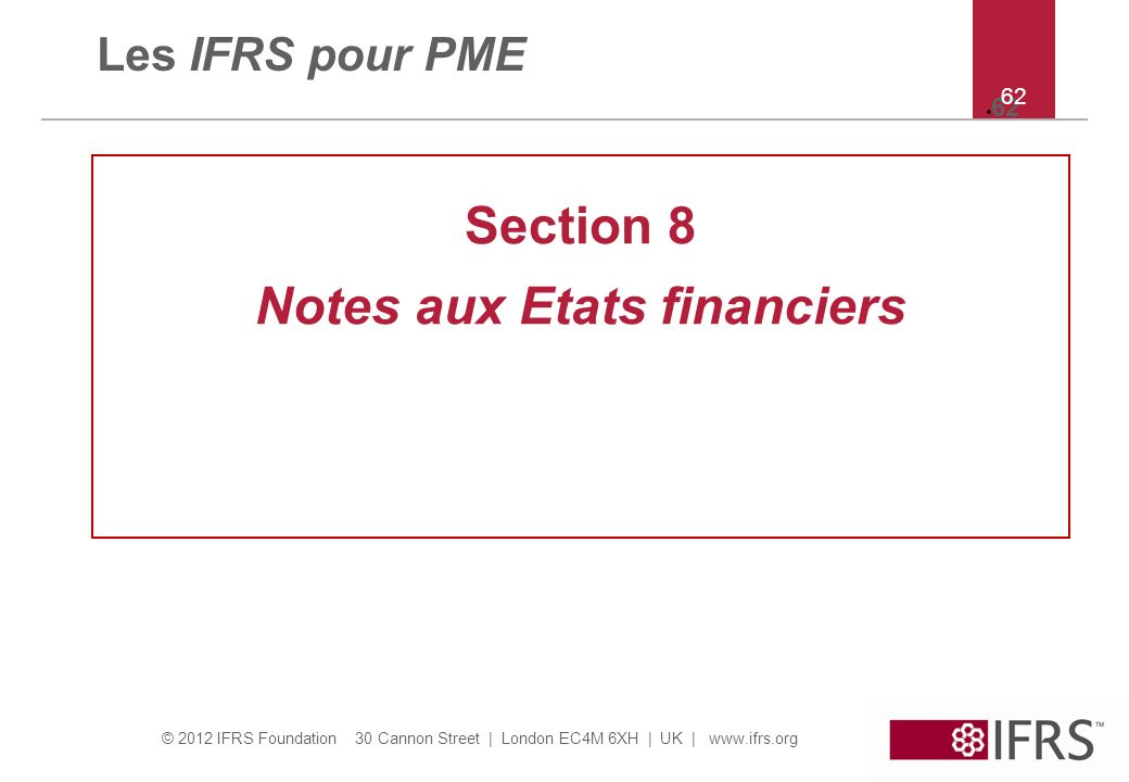Notes aux Etats financiers