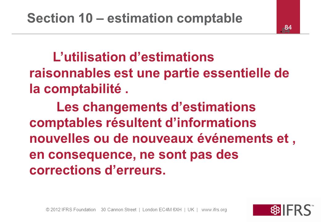 Section 10 – estimation comptable