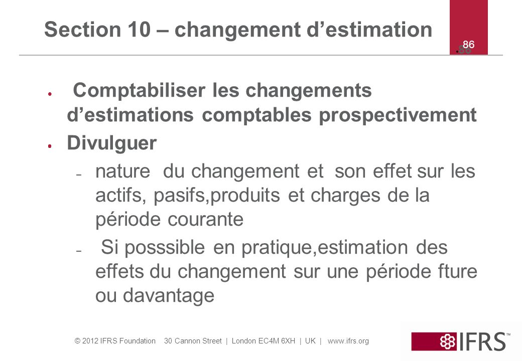 Section 10 – changement d'estimation